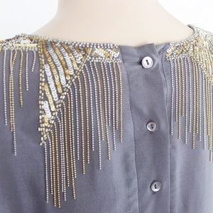 French Connection Dresses - French Connection Silk Embellished Gold Bib Dress